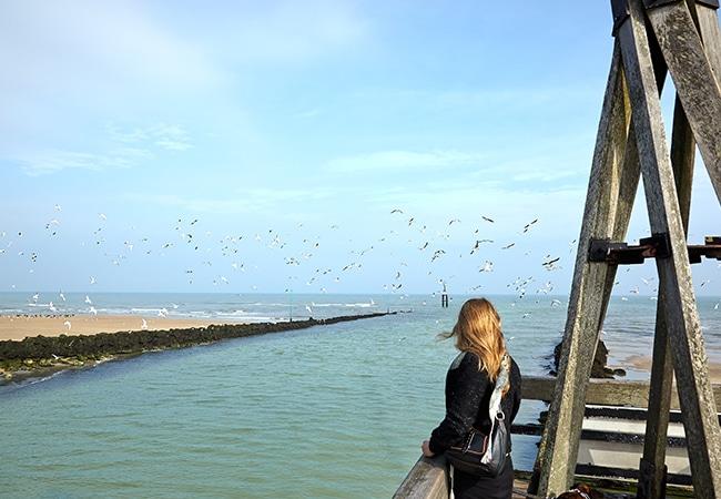 femme regardant la grande marée dans le Calvados