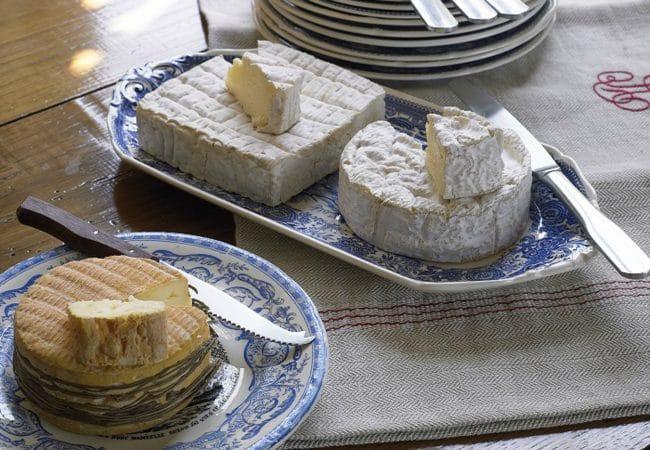 assiettes avec livarot, camembert et pont l'évêque
