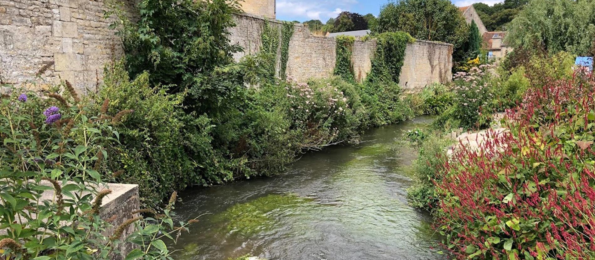 Cours d'eau le long de maisons à Reviers dans le Calvados en Normandie