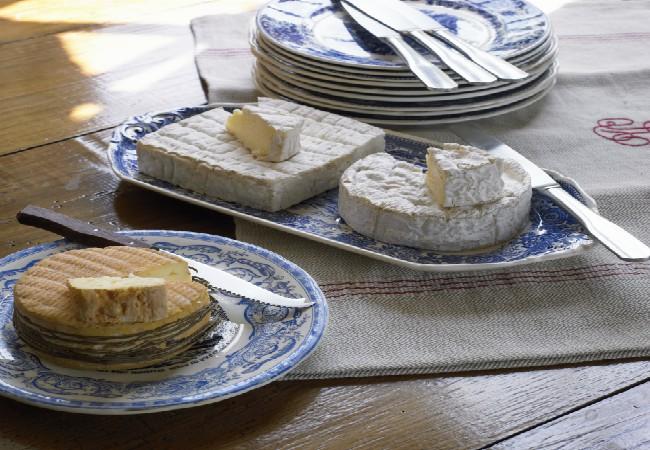 Assiette de trois fromages AOP normands Pont l'Evêque, Camembert et Livarot