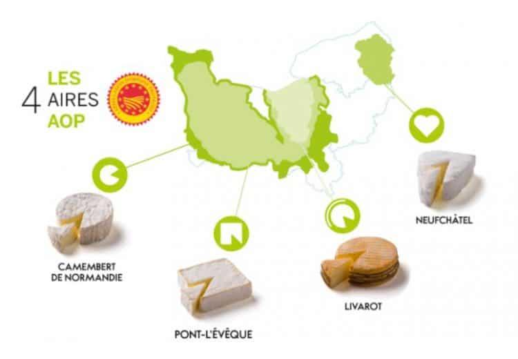 Carte des AOP de fromages de Normandie