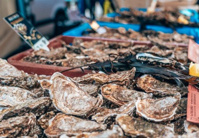 etal de coquilles saint jacques sur le marché aux poissons de Port-en-Bessin