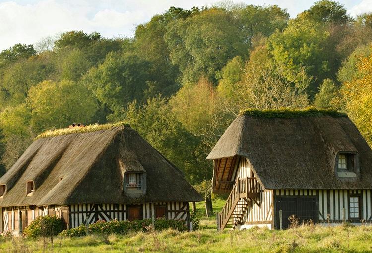 Deux maisons en colombage avec des toits de chaume