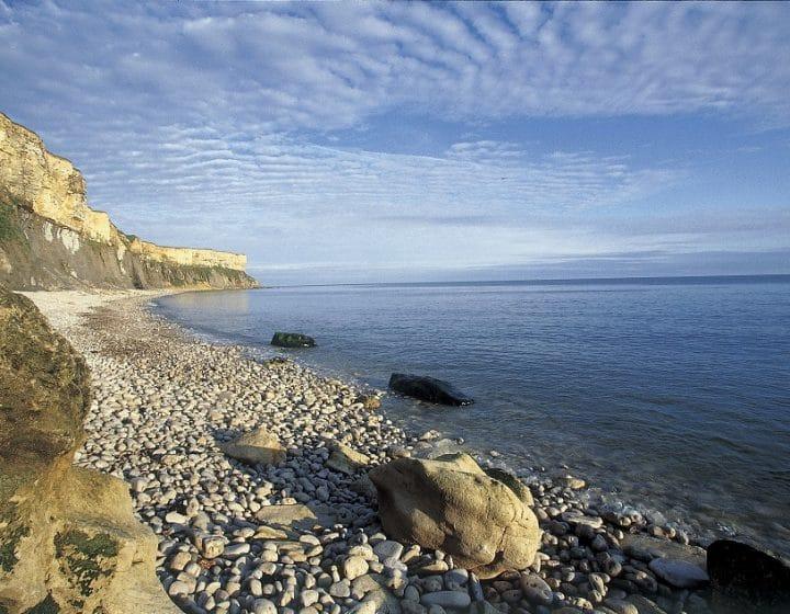 Vue sur la cote : les falaises, une plage de galets et la mer